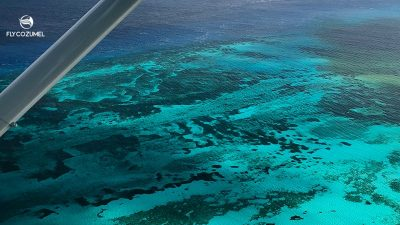 Cozumel reef from airplane