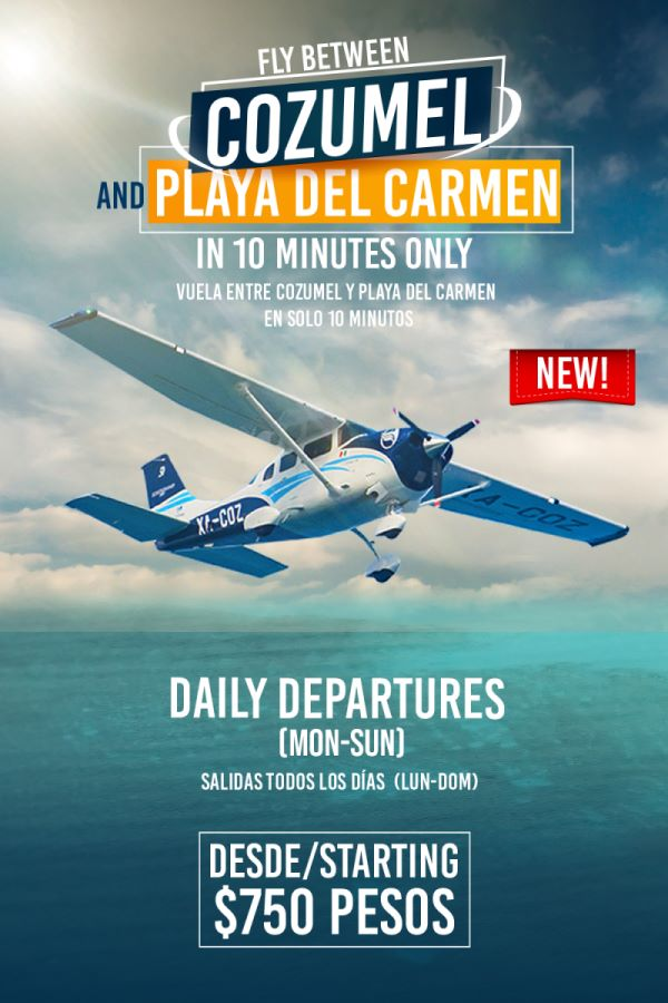 Daily Flights between playa del carmen and cozumel