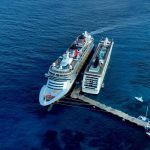 Cruise ships from the plane Cozumel